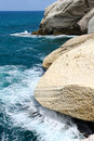 The white chalk cliffs of Rosh ha-Hanikra Royalty Free Stock Photo
