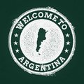 White chalk texture retro stamp with Argentine. Royalty Free Stock Photo
