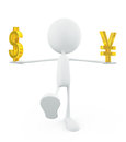 White character with doller and yen sign d illustration of Royalty Free Stock Image