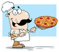 White Chef Carrying A Pizza Pie On A Stove Shovel Stock Photos