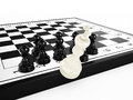 White chess king falls chessboard surrounded black chess pawns d render Royalty Free Stock Photography