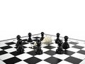 White chess king lies surrounded black chess pawns chessboard d render Royalty Free Stock Photos