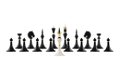 White chess king opposite to black ones discussion and negotiation concept as figure the composition isolated over Royalty Free Stock Photos