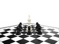 White chess king surrounded black chess pawns chessboard d render Stock Images