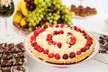 White chocolate cake with cherries Royalty Free Stock Photo