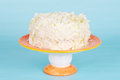 White chocolate cake on a stand