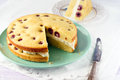 White chocolate cottage cheese cherry cake Stock Images