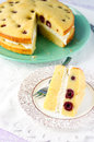 White chocolate cottage cheese cherry sandwich cake Royalty Free Stock Image