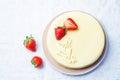 White chocolate cream cheese cake with strawberries Royalty Free Stock Photo
