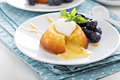 White chocolate lava cake with blueberries and blackberries Stock Image