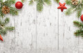 White Christmas background with tree and decorations Royalty Free Stock Photo