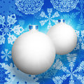 White christmas balls and snowflakes new year s background on a blue background Royalty Free Stock Photos