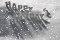 White Christmas Card, Text Happy Holidays On Snow, Snowflakes