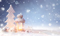 White Christmas Decoration With Lantern On Snowy Table Royalty Free Stock Photo