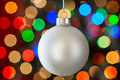 White Christmas Ornament Glowing Christmas Lights Royalty Free Stock Photo