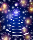 White christmas tree in blue Royalty Free Stock Photos