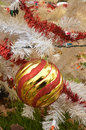 White Christmas tree color lights red and gold striped ball ornament