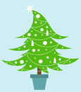 White christmas tree decorated with ornaments vector illustration Stock Photo