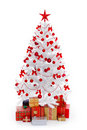 White Christmas tree with gifts and red decoration Royalty Free Stock Images
