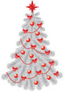 White christmas tree with  red decoration Stock Images