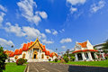 White church with blue sky at wat benchamabophit in bangkok of thailand Stock Images