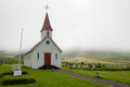 White church on a foggy day in South Iceland