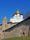 White church with golden domes and blue sky Royalty Free Stock Photos