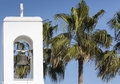 White church and palms agia napa cyprus Stock Photo