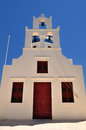 White church in Santorini with blue sky in Greece Royalty Free Stock Image