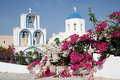 White church at santorini island in greece Royalty Free Stock Photo