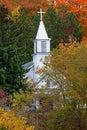 White Church Steeple in Autumn - Michigan USA Royalty Free Stock Photo