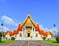 White church at the temple wat benchamabophit in bangkok of thailand Royalty Free Stock Photos