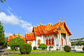 White church at the temple wat benchamabophit in bangkok of thailand Stock Image