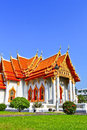 White church at the temple wat benchamabophit in bangkok of thailand Royalty Free Stock Photo