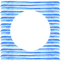 White Circle on blue stripe painted in watercolor. Retro style background. Element design for posters, stickers, banners, invitati Royalty Free Stock Photo