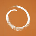 White circle painted on orange background Royalty Free Stock Photo