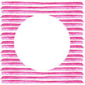 White Circle on pink stripe painted in watercolor. Retro style background. Element design for posters, stickers, banners, invitati Royalty Free Stock Photo