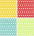 White circles and waves on colored backgrounds are dark yellow red green light green colors Stock Photo