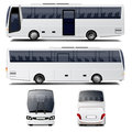 White city bus illustration four different angles Royalty Free Stock Image