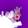 White city on purple background. Stock Photography