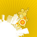 White city on yellow background. Stock Photography