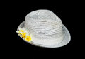White classic hat with flowers Stock Photography