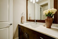 White and clean bathroom design in brand-new home Royalty Free Stock Photo
