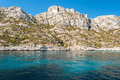 The white cliff of the Calanques near Cassis Provence, France Royalty Free Stock Photo