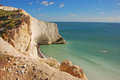 White cliff at the needles in isle of wight this picture is taken from top with beautiful clean blue water solent Royalty Free Stock Photography