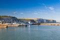 White cliffs and Dover harbor along the coast of English channel Royalty Free Stock Photo