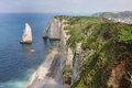 White cliffs and natural arch on the coast of france near the town of etretat in normandy Stock Image
