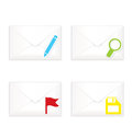 White closed envelopes with flag mark icon set vector illustration of realistic sorted marks Royalty Free Stock Photo