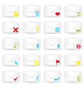White closed twenty envelopes icon set vector illustration of realistic with marks Royalty Free Stock Photo