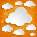 White clouds collection on an orange background striped Royalty Free Stock Images